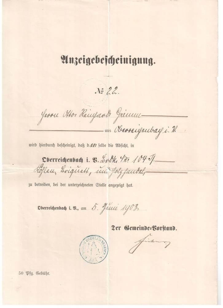 Anzeigebescheinigung Otto Grimm 1903