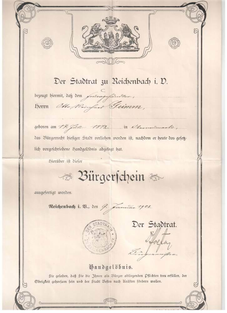 Bürgerschein des Otto Grimm 1908