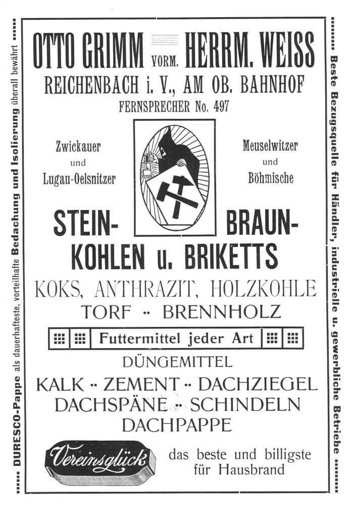 Werbung aus dem Reichenbacher Adressbuch 1911/1912
