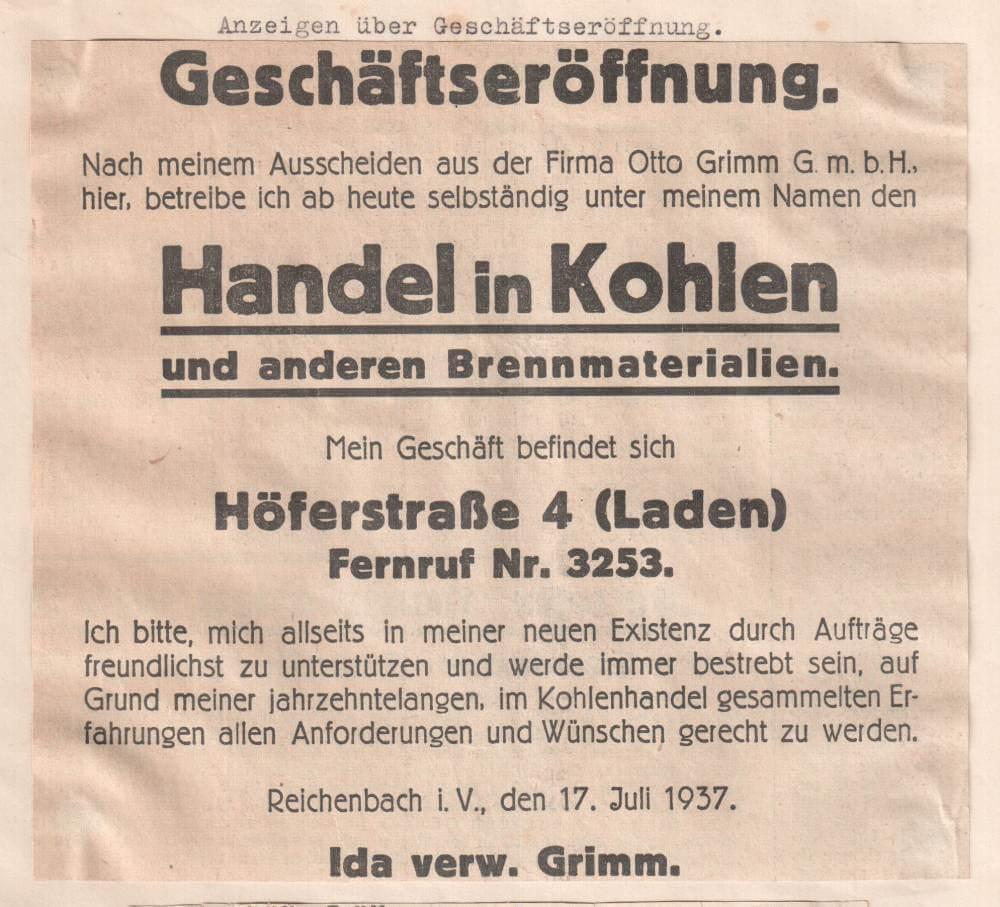Anzeige zur Geschäftseröffnung 1937